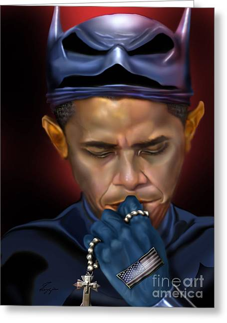 Super Stars Greeting Cards - Mad Men Series 1 of 6 - President Obama The Dark Knight Greeting Card by Reggie Duffie