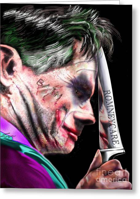 Political Satire Greeting Cards - Mad Men Series 2 of 6 - Romney the Joker Greeting Card by Reggie Duffie