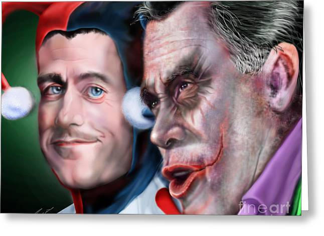 Republican Greeting Cards - Mad Men Series  4 of 6 - Romney and Ryan Greeting Card by Reggie Duffie