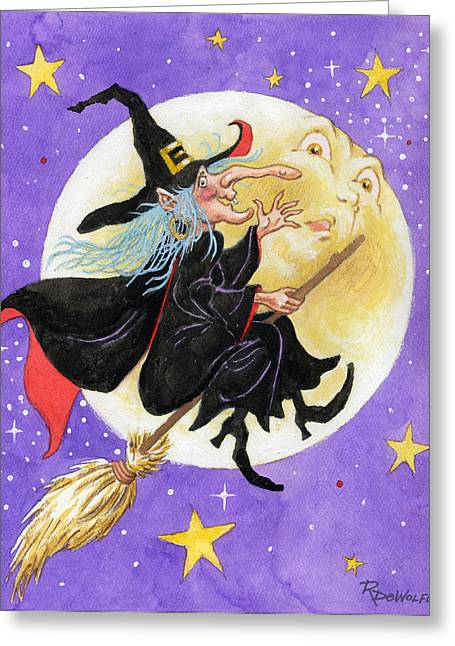 Moonlight Greeting Cards - Mad Millie Greeting Card by Richard De Wolfe