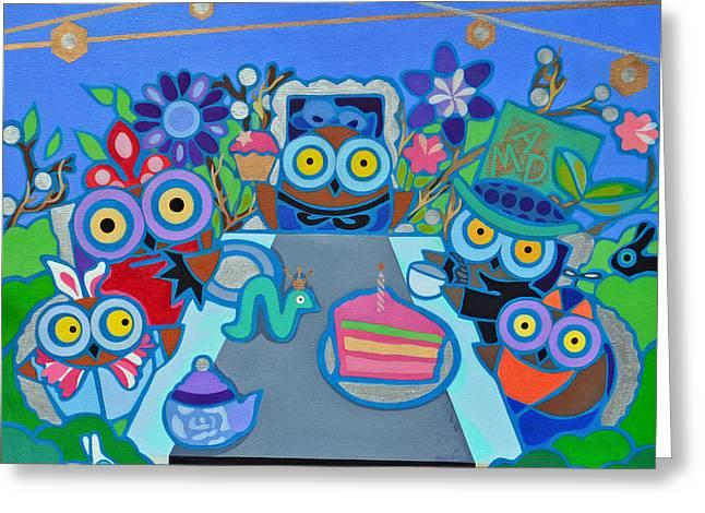 Mad Owls Tea Greeting Card by Jenny Valdez