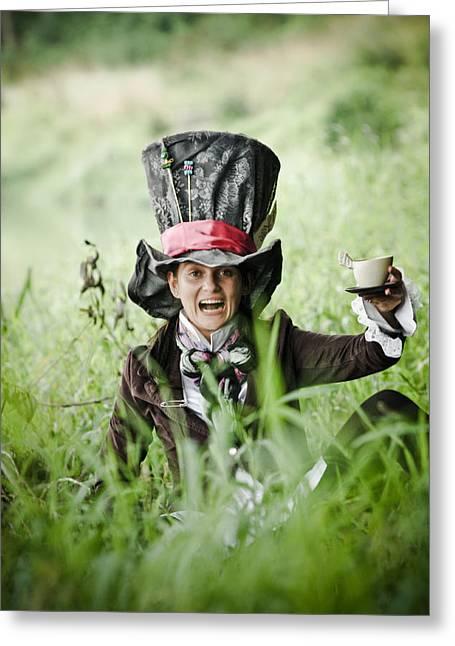 Tea Party Greeting Cards - Mad Tea Greeting Card by MrsRedhead Olga