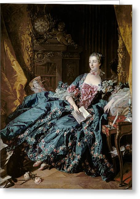 Clock Paintings Greeting Cards - Madame de Pompadour Greeting Card by Francois Boucher