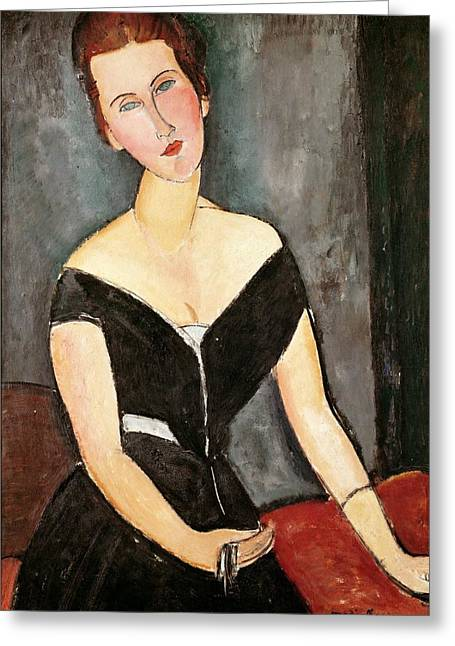 Clemente Paintings Greeting Cards - Madame G van Muyden Greeting Card by Amedeo Modigliani