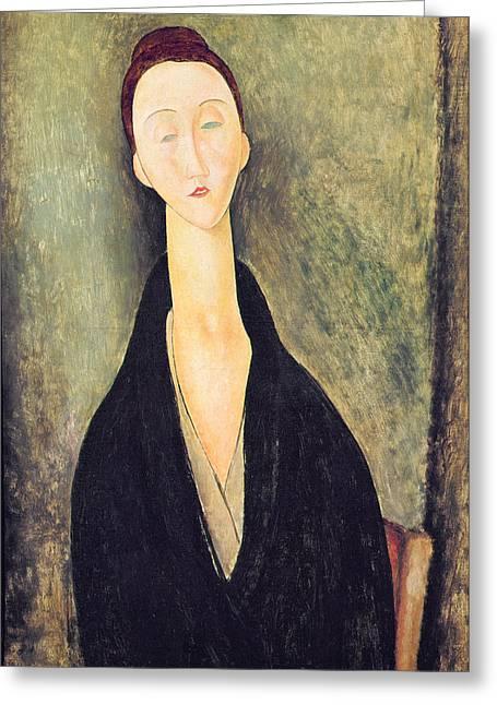1918 Paintings Greeting Cards - Madame Hanka Zborowska Greeting Card by Amedeo Modigliani