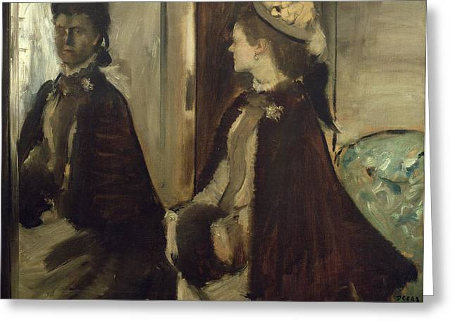 Reflection In Glass Greeting Cards - Madame Jeantaud in the mirror Greeting Card by Edgar Degas
