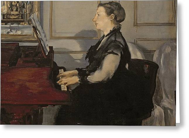Playing Music Greeting Cards - Madame Manet at the Piano Greeting Card by Edouard Manet