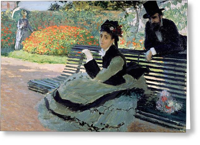 Sit-ins Photographs Greeting Cards - Madame Monet on a Garden Bench Greeting Card by Claude Monet