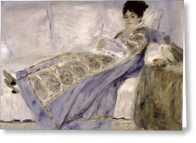 Add Greeting Cards - Madame Monet on a Sofa Greeting Card by Pierre Auguste Renoir