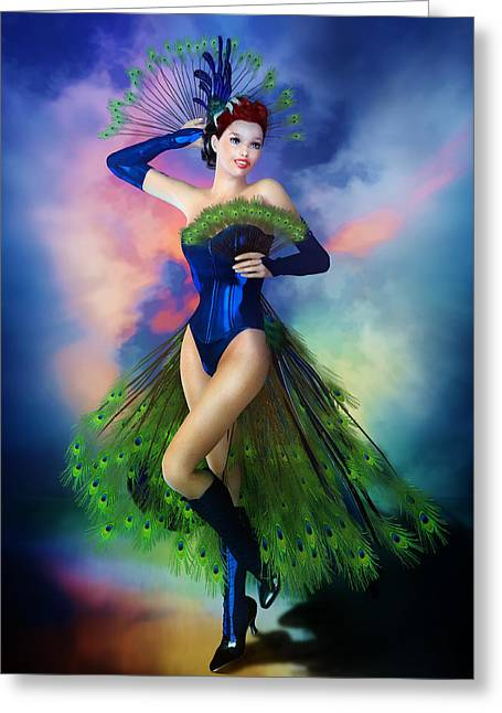 Boots Digital Art Greeting Cards - Madame Peacock Greeting Card by Karen H