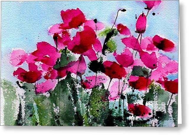 Maddy's Poppies Greeting Card by Anne Duke