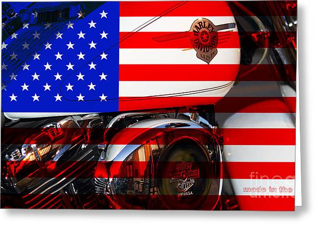 July 4th Greeting Cards - Made In The USA . Harley-Davidson . 7D12759 Greeting Card by Wingsdomain Art and Photography