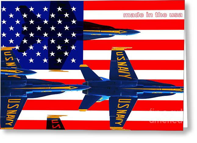 F-18 Greeting Cards - Made In The USA . Blue Angels Greeting Card by Wingsdomain Art and Photography