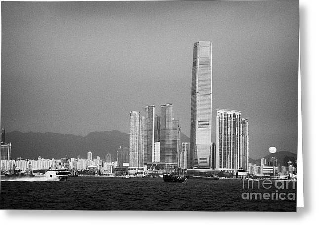 Turbojet Greeting Cards - Madeira Hydrofoil Macau Ferry Speeds Towards Kowloon Skyline Hong Kong Hksar China Asia Greeting Card by Joe Fox