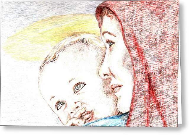 Occasion Drawings Greeting Cards - Madonna and Baby Jesus Greeting Card by Denny Phillips