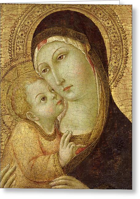 Virgin Paintings Greeting Cards - Madonna and Child Greeting Card by Ansano di Pietro di Mencio