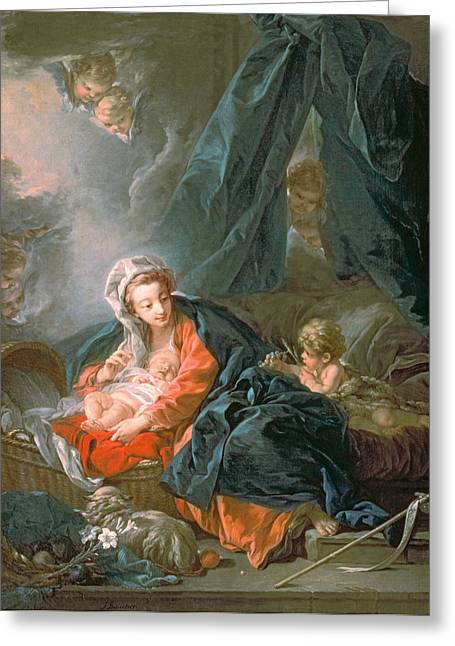 18th Century Greeting Cards - Madonna and Child Greeting Card by Francois Boucher