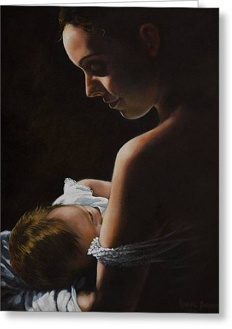 Quiet Time Greeting Cards - Madonna and Child Greeting Card by Harvie Brown