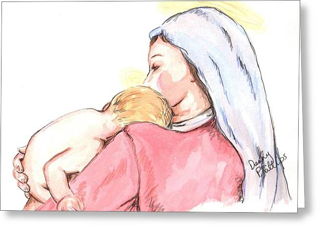 Occasion Drawings Greeting Cards - Madonna and Child II Greeting Card by Denny Phillips