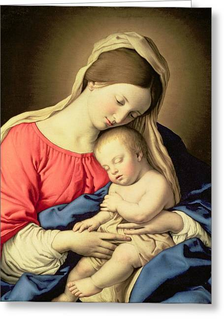 Madonna Greeting Cards - Madonna and Child Greeting Card by Il Sassoferrato