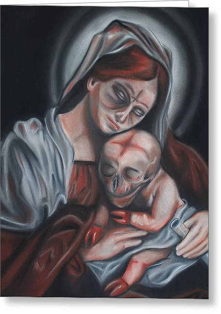 Jesus Pastels Greeting Cards - Madonna and Child Greeting Card by Joe Dragt