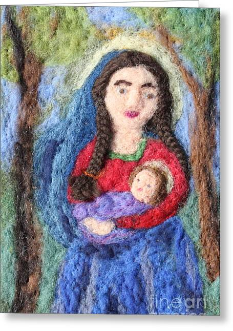 Christ Child Tapestries - Textiles Greeting Cards - Madonna and Child Greeting Card by Nicole Besack