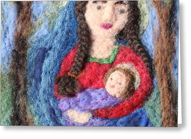 Madonna and Child Greeting Card by Nicole Besack