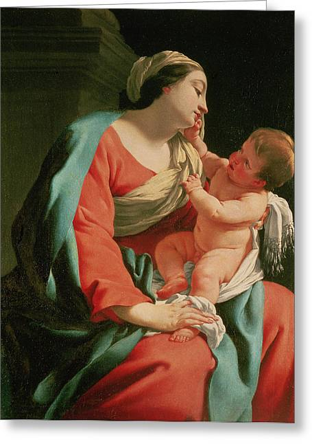 Gospel Greeting Cards - Madonna and Child Greeting Card by Simon Vouet