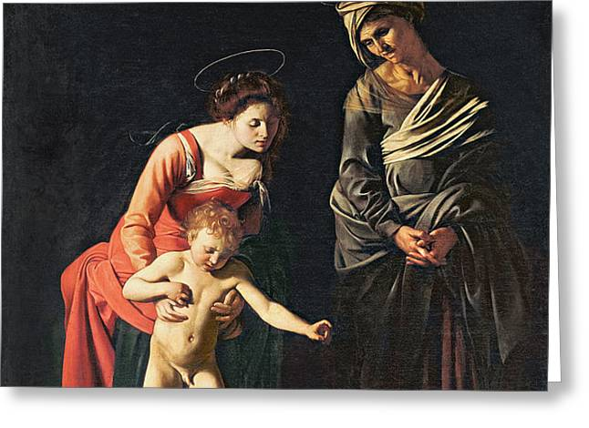 Madonna and Child with a Serpent Greeting Card by Michelangelo Merisi da Caravaggio