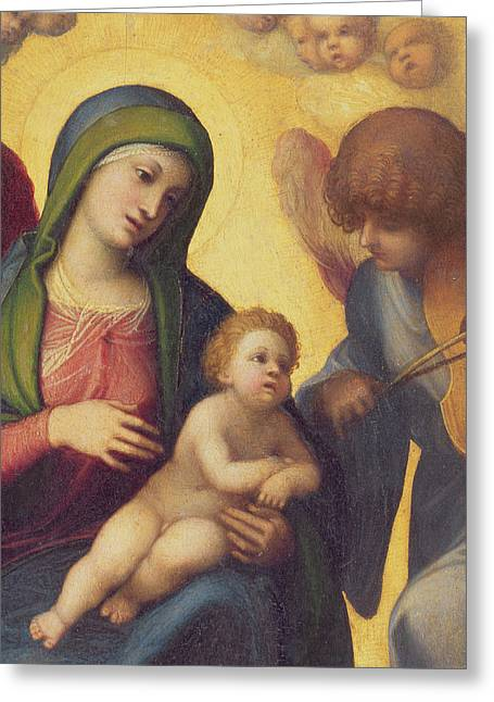 Virgin Mary Greeting Cards - Madonna and Child with Angels Greeting Card by Correggio