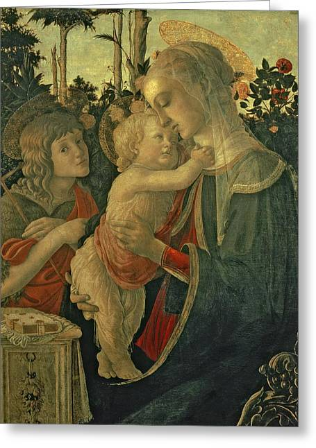 Religious Paintings Greeting Cards - Madonna and Child with St. John the Baptist Greeting Card by Sandro Botticelli