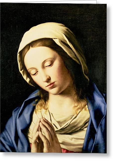 Devotional Greeting Cards - Madonna at Prayer Greeting Card by Il Sassoferrato