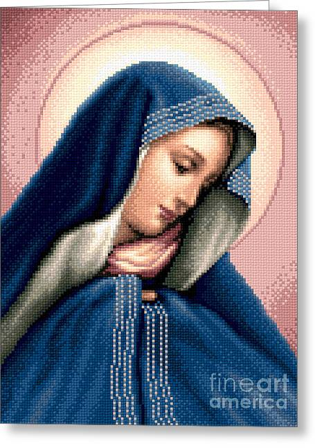 Cross Tapestries - Textiles Greeting Cards - Madonna Dolorosa Greeting Card by Stoyanka Ivanova