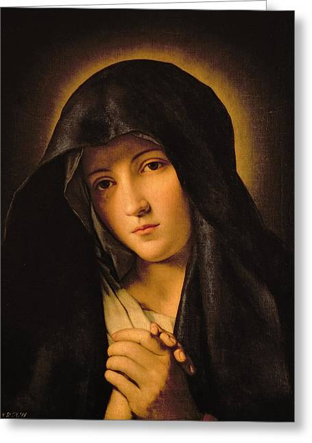 Religious Paintings Greeting Cards - Madonna Greeting Card by Il Sassoferrato