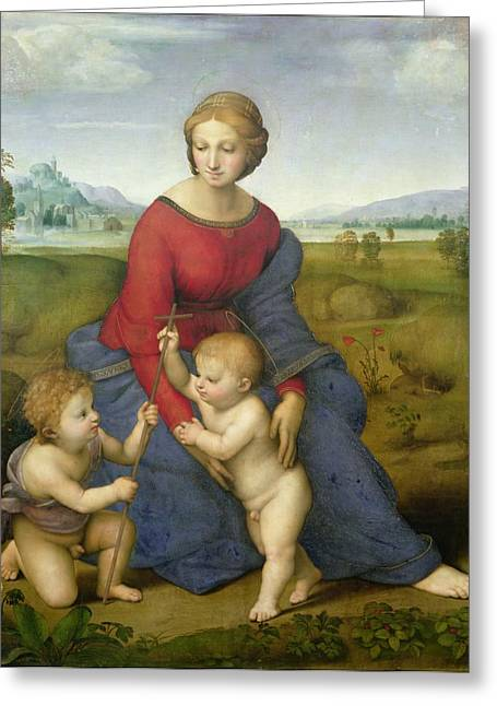 Raphael (raffaello Sanzio Of Urbino) (1483-1520) Greeting Cards - Madonna in the Meadow Greeting Card by Raphael
