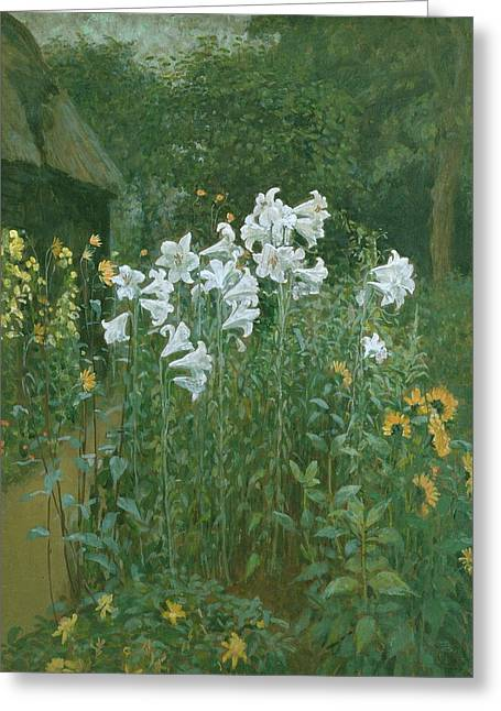 Border Greeting Cards - Madonna Lilies in a Garden Greeting Card by Walter Crane