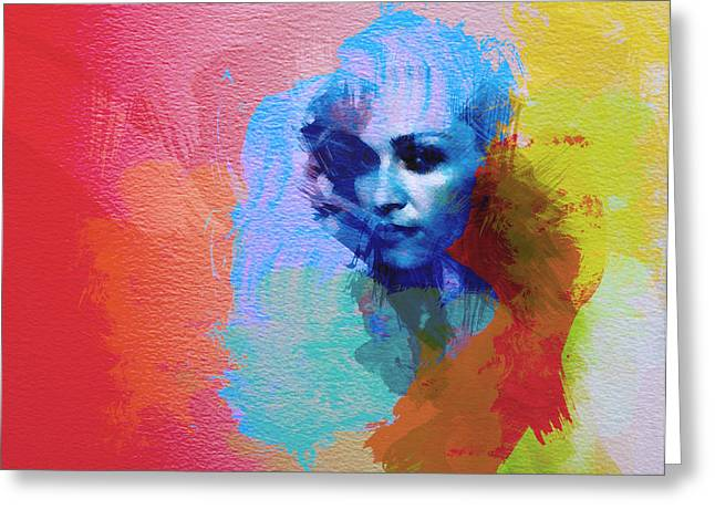 Red And Blue Greeting Cards - Madonna Greeting Card by Naxart Studio