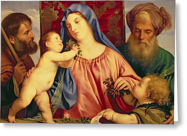 Child Jesus Greeting Cards - Madonna of the Cherries with Joseph Greeting Card by Titian