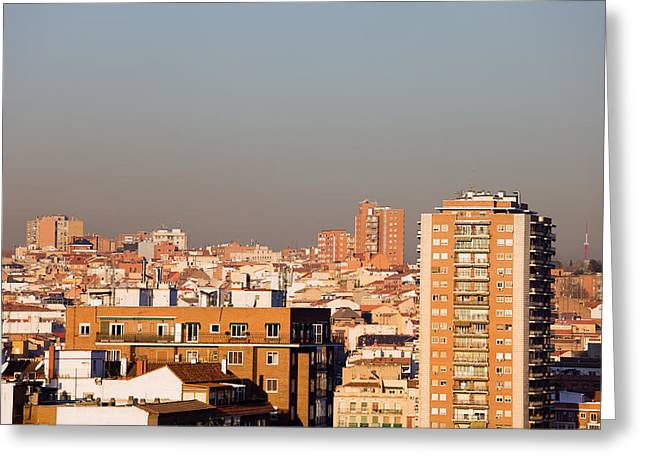 Residential District Greeting Cards - Madrid Cityscape Greeting Card by Artur Bogacki