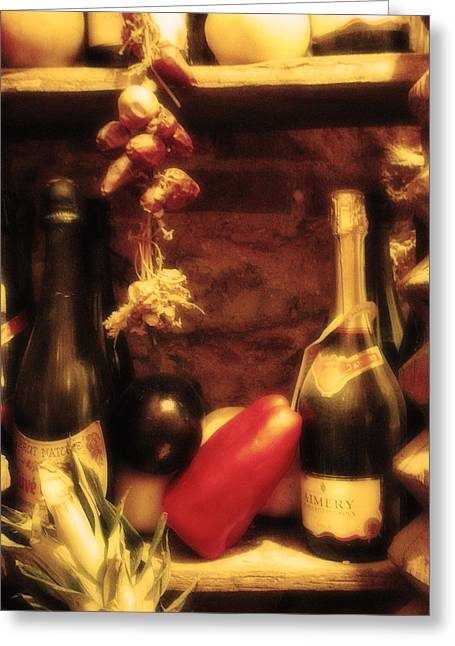Wine Scene Greeting Cards - Madrid Food and Wine Still Life I Greeting Card by Greg Matchick