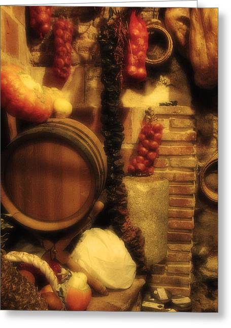 Wine Scene Greeting Cards - Madrid Food and Wine Still Life II Greeting Card by Greg Matchick