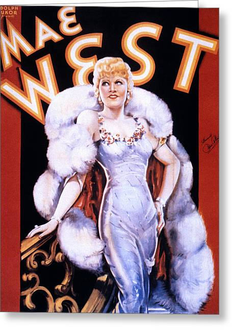 1930s Movies Greeting Cards - Mae West: Poster Greeting Card by Granger