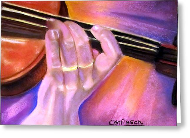 Orchestra Pastels Greeting Cards - Maestro Greeting Card by Carol Allen Anfinsen