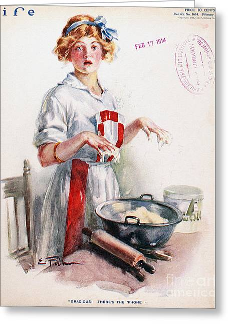 Apron Greeting Cards - Magazine: Life, 1914 Greeting Card by Granger