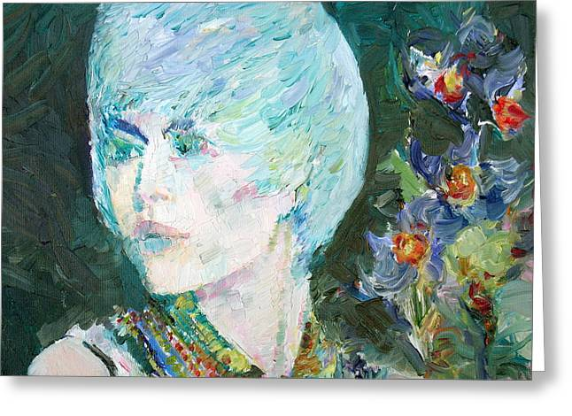 Portrait With Flowers Greeting Cards - Magda The Girl - The Flowers Greeting Card by Fabrizio Cassetta