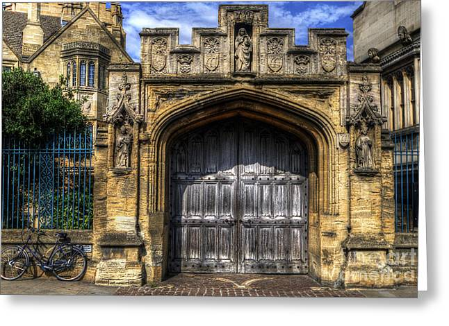 Old Door Greeting Cards - Magdalen College Door - Oxford Greeting Card by Yhun Suarez