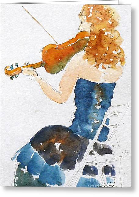 Quartet Paintings Greeting Cards - Magdalena On Viola Greeting Card by Pat Katz