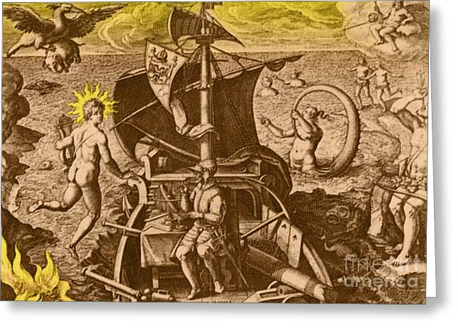 Magellan Setting Out To Sea, 1519 Greeting Card by Photo Researchers