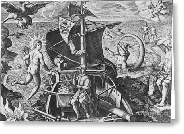 Magellan Setting Out To Sea, 1519 Greeting Card by Science Source