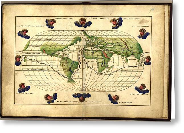 Magellan's Route, 16th Century Map Greeting Card by Library Of Congress, Geography And Map Division